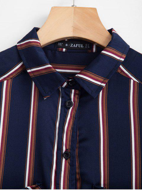 outfits ZAFUL Chest Pockets Striped Shirt - DEEP BLUE L Mobile