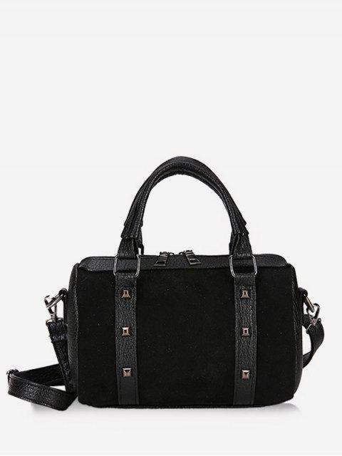 chic Multi Functional Rivet Tote Bag - BLACK  Mobile