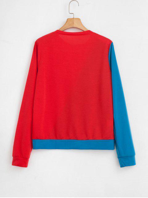shops Two Tone Striped Trim Sweatshirt - MULTI S Mobile