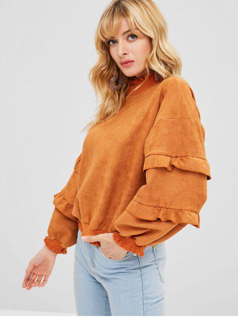 latest Ruffled Suede Sweatshirt - SANDY BROWN ONE SIZE Mobile