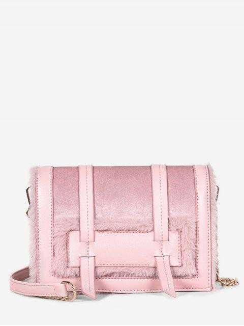 fashion Solid Faux Fur Chic Crossbody Bag - LIGHT PINK  Mobile