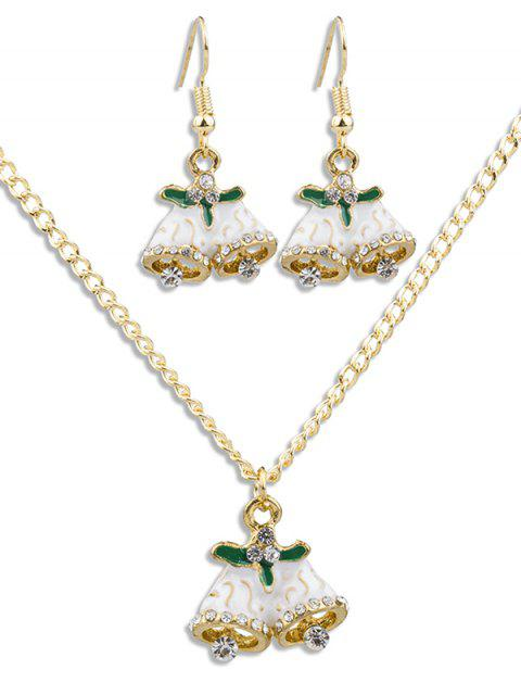 shop Christmas Bell Rhinestone Alloy Jewelry Suit - GOLD  Mobile