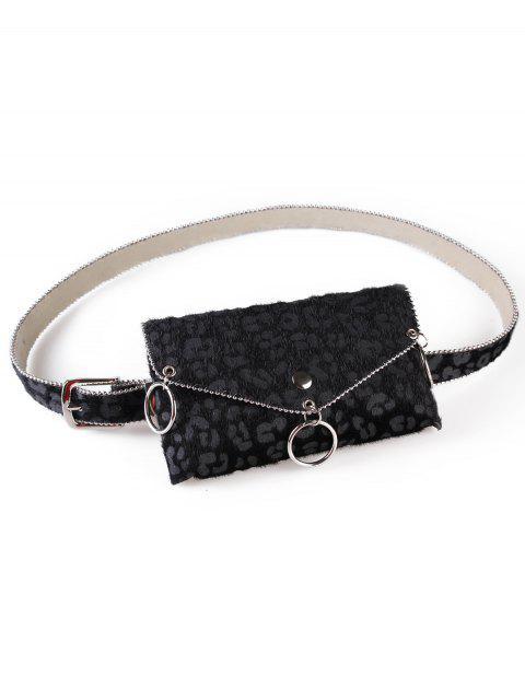 online Punk Leopard Print Fanny Pack Belt Bag - BLACK  Mobile