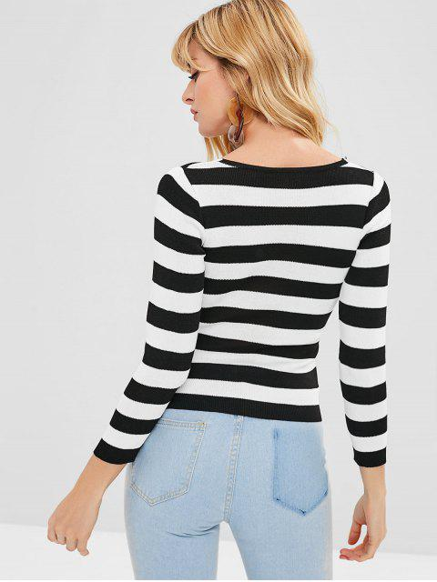 outfit Buttoned Ruffles Striped Knitwear - BLACK ONE SIZE Mobile