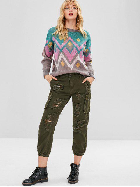 Jeans de bolsillo laterales desgastados - Ejercito Verde S Mobile