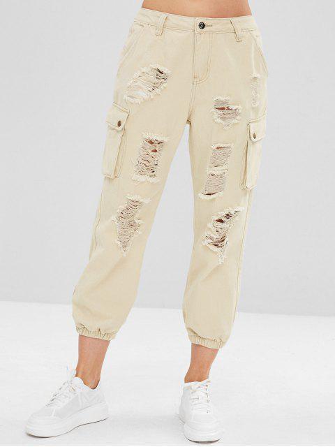 affordable Distressed Side Pocket Jogger Jeans - WARM WHITE S Mobile