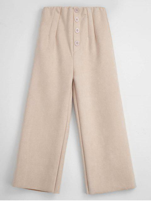 online Raw Cut Faux Suede Wide Leg Pants - BLANCHED ALMOND XL Mobile