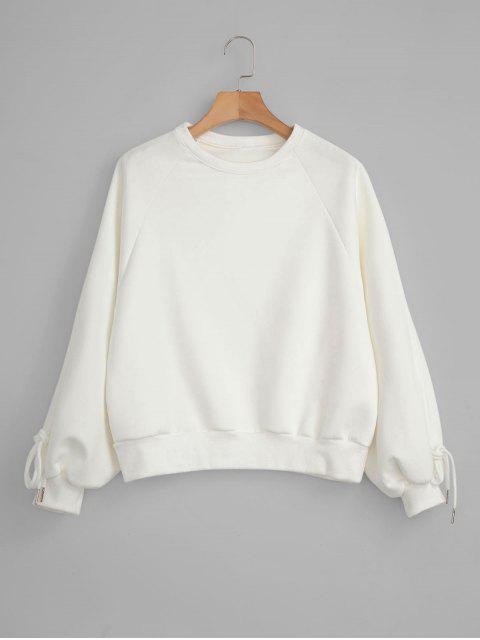 chic Raglan Sleeve Faux Suede Sweatshirt - WHITE ONE SIZE Mobile