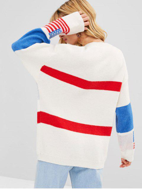 sale Contrast Letter American Flag Graphic Sweater - MULTI ONE SIZE Mobile
