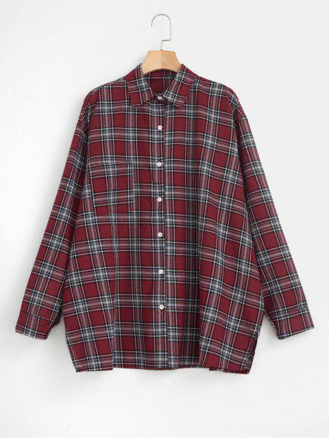 affordable Oversized Checked Shirt - MULTI ONE SIZE Mobile