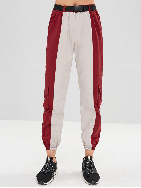 trendy Two Tone Pockets Jogger Pants - MULTI-A M Mobile