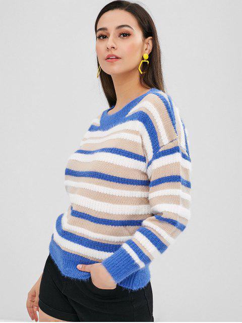 latest Loose Fit Contrast Striped Sweater - MULTI ONE SIZE Mobile