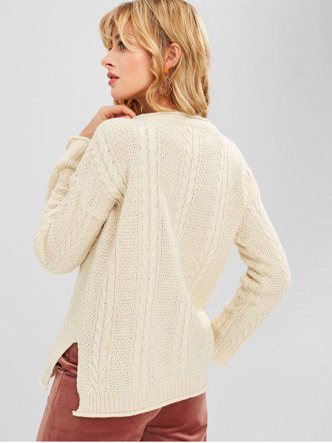 buy Rolled Hem Slit Cable Knit Sweater - BEIGE ONE SIZE Mobile