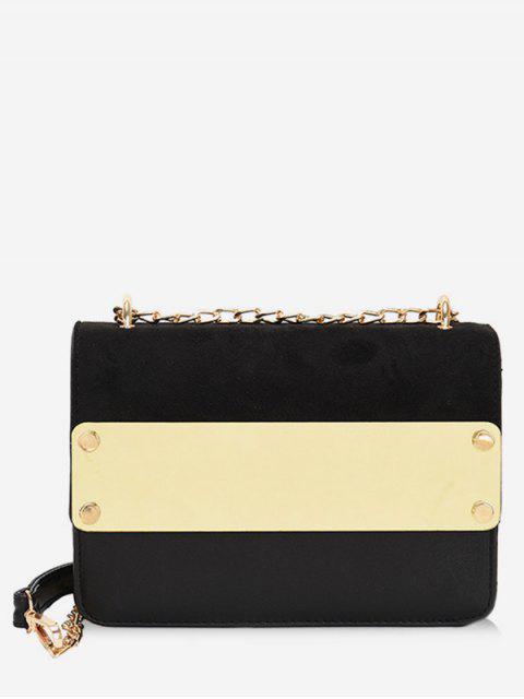 womens Color Block Metal Chic Crossbody Bag - BLACK  Mobile