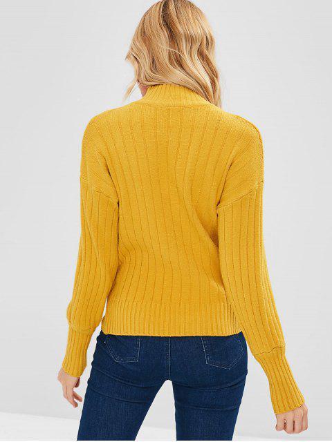 best Drop Shoulder High Neck Sweater - GOLDEN BROWN ONE SIZE Mobile