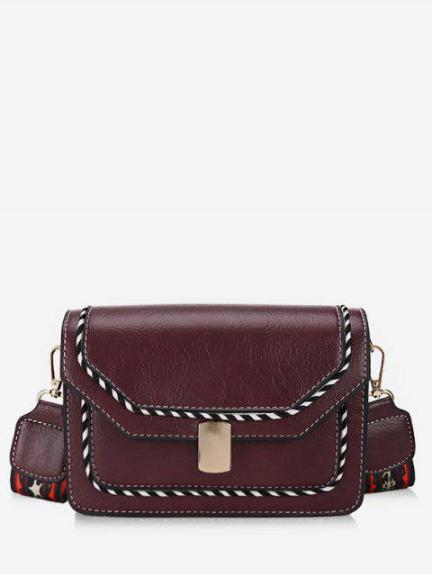 online Striped Print PU Leather Crossbody Bag - DULL PURPLE  Mobile