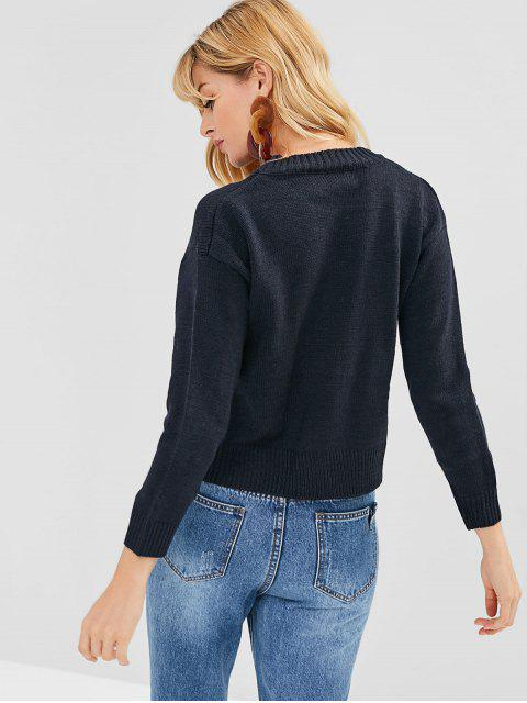 new Drop Shoulder Cherry Embroidered Sweater - CADETBLUE ONE SIZE Mobile