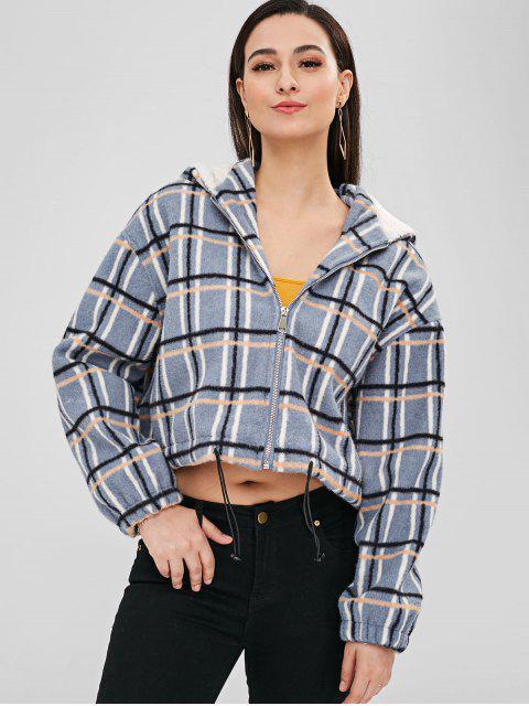 buy Plaid Fleece Lining Hooded Jacket - BLUE ONE SIZE Mobile