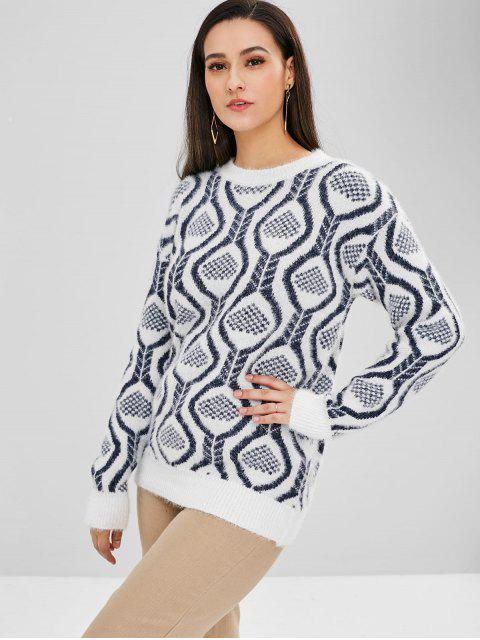 ladies Graphic Pattern Crew Neck Sweater - WHITE ONE SIZE Mobile