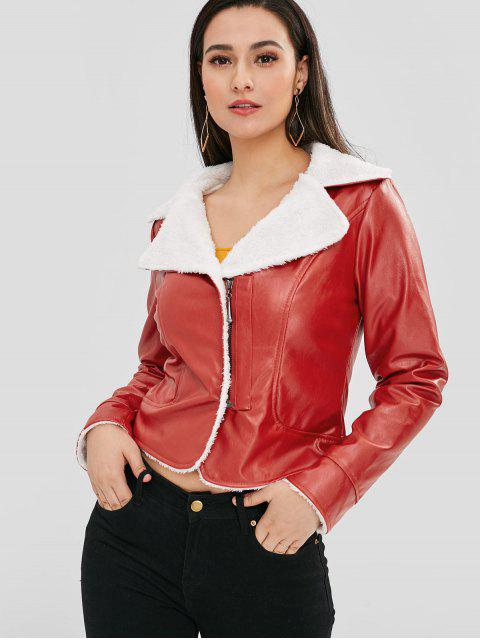 best Faux Leather Fleece Jacket - RED ONE SIZE Mobile