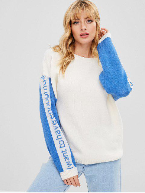 trendy Two Tone Letter Graphic Loose Sweater - WARM WHITE ONE SIZE Mobile