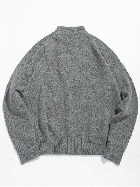 sale High Neck Letter Print Pullover Sweater - BATTLESHIP GRAY 2XL Mobile