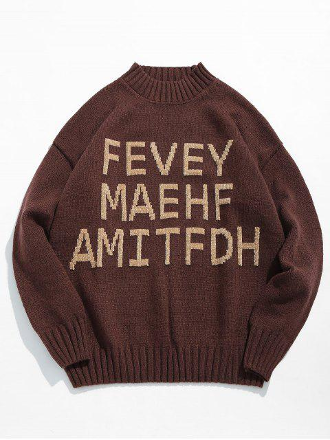womens High Neck Letter Printed Pullover Sweater - COFFEE XL Mobile