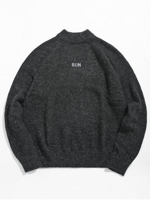 best High Neck Letter Print Pullover Sweater - DARK SLATE GREY XL Mobile