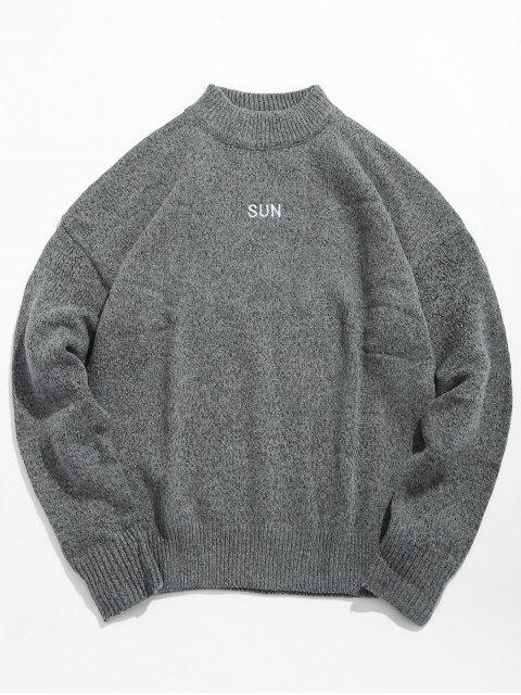 outfit High Neck Letter Print Pullover Sweater - BATTLESHIP GRAY XL Mobile