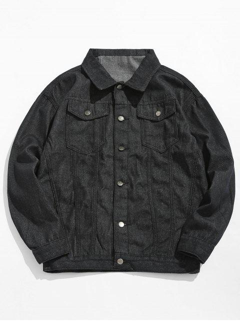 fashion Loose Fit Button Fly Denim Jacket - BLACK L Mobile