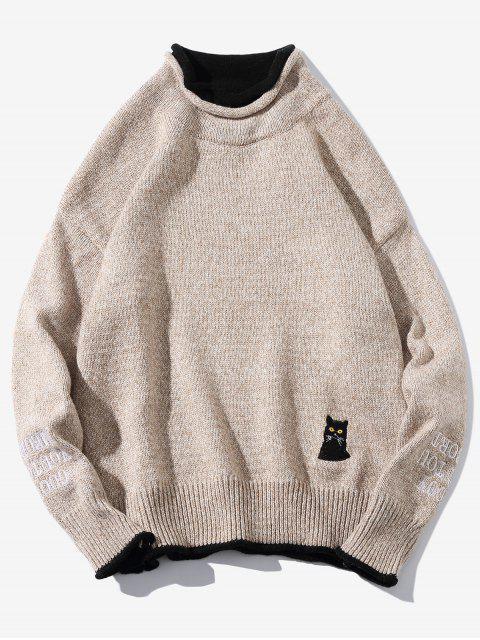 women Cat Embroider Double Hem Collar Sweater - LIGHT KHAKI XS Mobile