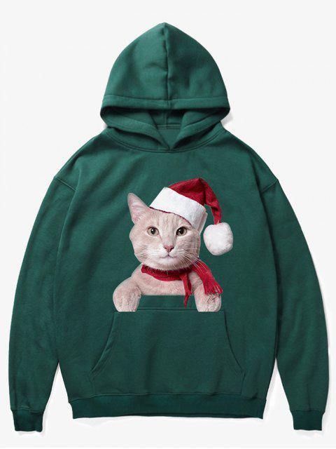 womens Kangaroo Pocket Christmas Cat Pattern Hoodie - MEDIUM SEA GREEN S Mobile