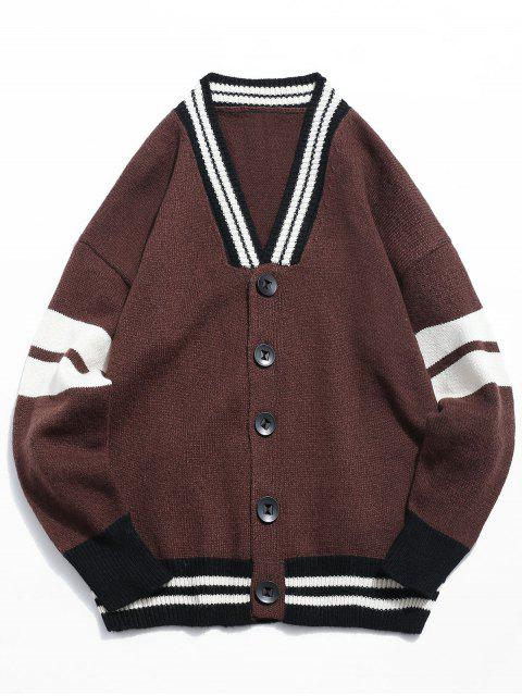 best Button Fly Color Spliced Kintted Cardigan - COFFEE XL Mobile