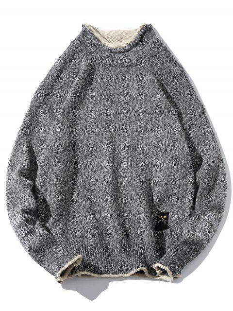 fancy Cat Embroider Double Hem Collar Sweater - CARBON GRAY L Mobile