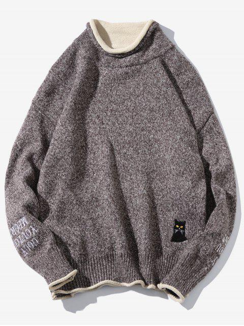 affordable Cat Embroider Double Hem Collar Sweater - PUCE S Mobile