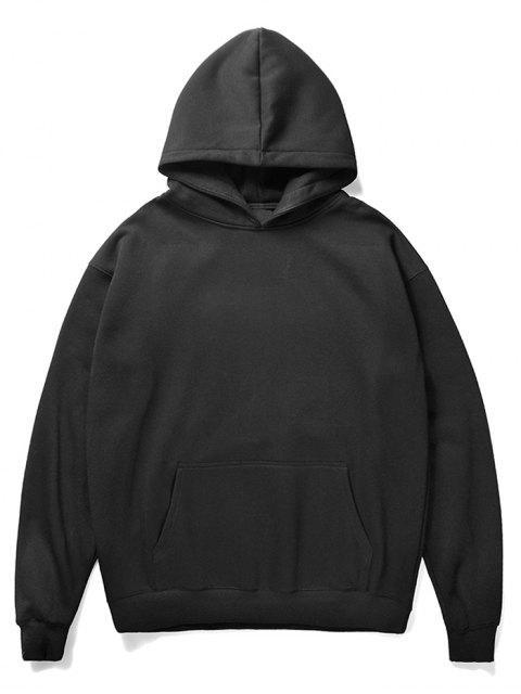 affordable Santa Claus and Chimney Pattern Fleece Hoodie - BLACK M Mobile