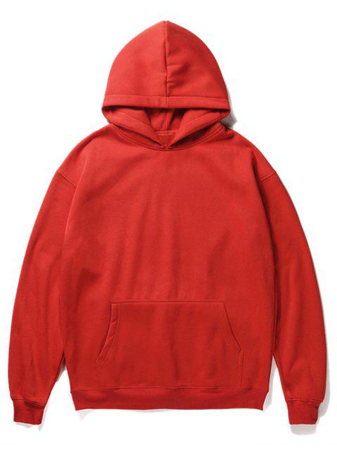 best Santa Claus and Chimney Pattern Fleece Hoodie - LAVA RED L Mobile