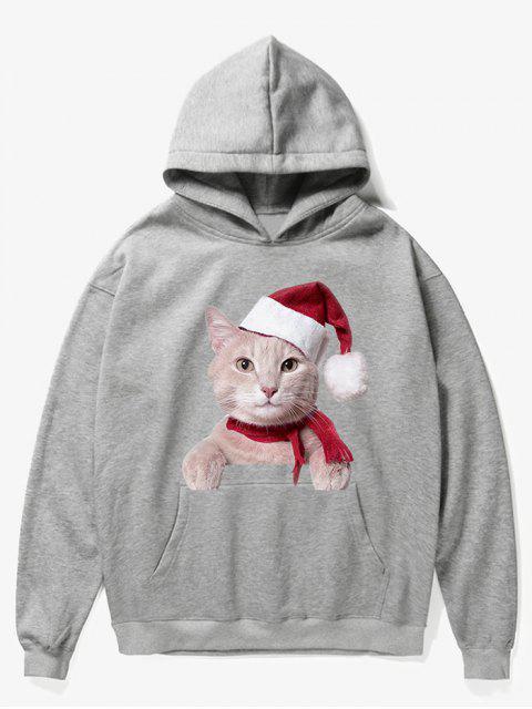 women's Kangaroo Pocket Christmas Cat Pattern Hoodie - GRAY CLOUD XL Mobile