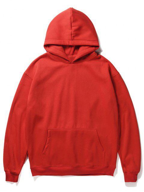 ladies Santa Claus Kangaroo Pocket Pullover Hoodie - LAVA RED L Mobile