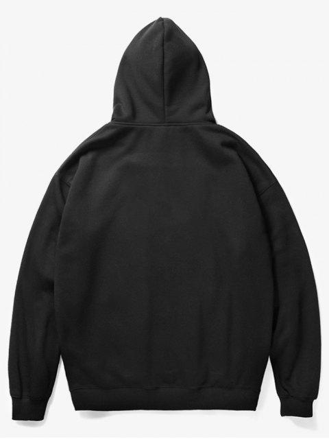 online Kangaroo Pocket Christmas Cat Pattern Hoodie - BLACK L Mobile