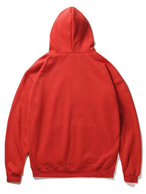 outfits Cartoon Santa Claus Pullover Fleece Hoodie - LAVA RED 2XL Mobile