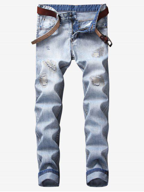 fancy Ripped Zigzag Stitching Patch Jeans - JEANS BLUE 38 Mobile