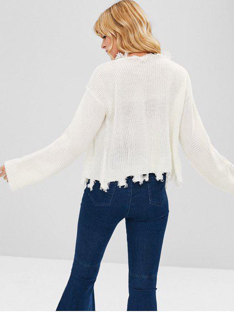lady ZAFUL Open Front Frayed Hem Cardigan - WHITE L Mobile