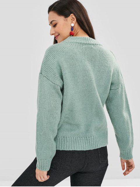 hot Loose Drop Shoulder Sweater - GREEN ONE SIZE Mobile