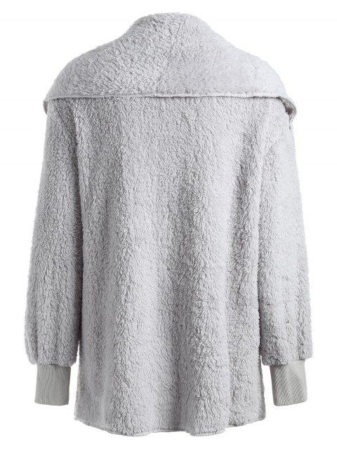 sale ZAFUL Plain Shawl Collar Fluffy Teddy Coat - LIGHT GRAY L Mobile