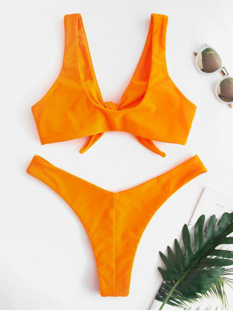 chic Bunny Tie Front Neon Bikini Top and Bottoms Set - TANGERINE M Mobile