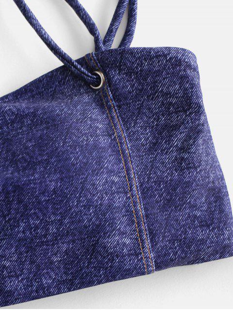 trendy ZAFUL Faux Denim Lace Up Cami Bikini Set - NAVY BLUE M Mobile