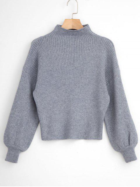 new Blouson Sleeve Ribbed Funnel Sweater - GRAY ONE SIZE Mobile