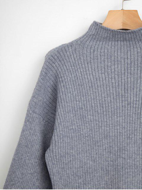 new Pullover Blouson Sleeve Ribbed Funnel Sweater - GRAY ONE SIZE Mobile