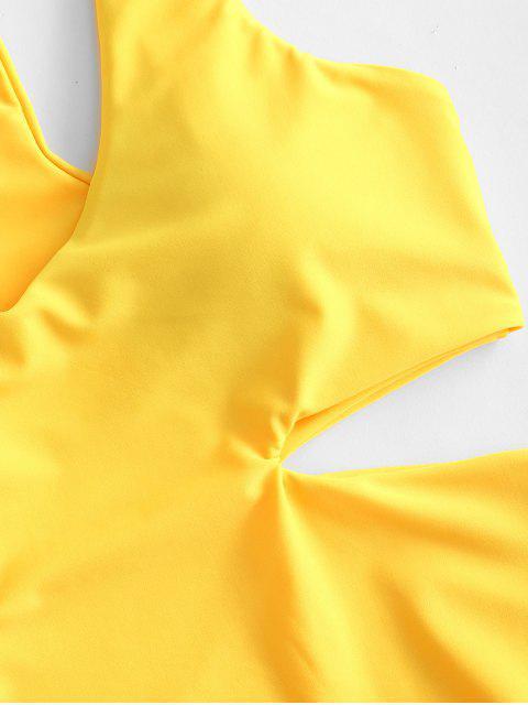 ZAFUL Racerback Cut Out traje de baño - Amarillo M Mobile